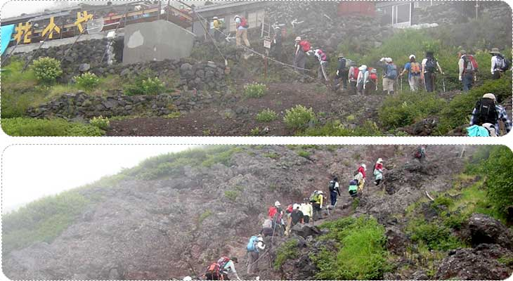 นักปีนเขาที่มาท้าทายภูเขาไฟฟูจิ